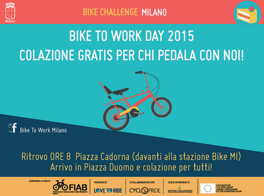 BIKE TO WORK DAY-COLAZIONE GRATIS PER CHI PEDALA CON NOI!